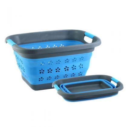 Корзина для хранения складная 11 л., голубая