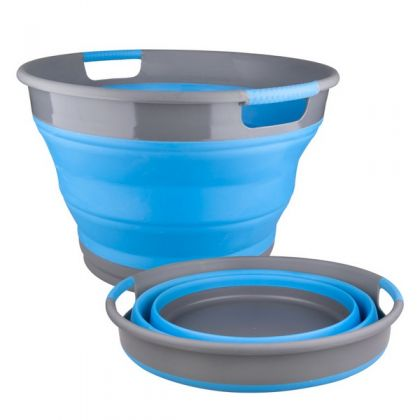 Корзина для хранения белья складная 9,5 л., голубая