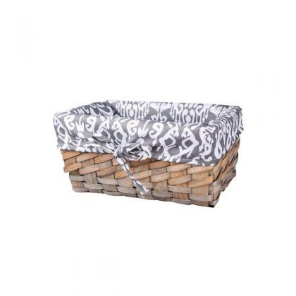 Корзина для хранения плетеная 27x16x13 см, черно-белая