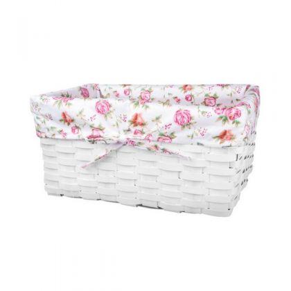 Корзина для хранения плетеная 27x16x13 см, белая в цветочек