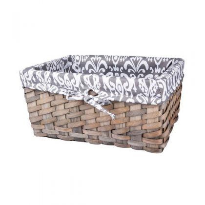 Корзина для хранения плетеная 32x21x15 см, черно-белая