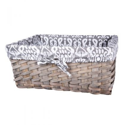 Корзина для хранения плетеная 37x26x17 см, черно-белая