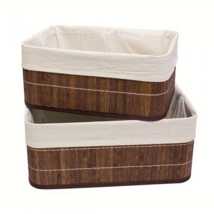 Набор из 2 коробок из бамбука для хранения вещей, бежевый