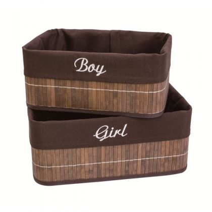 Набор из 2 коробок из бамбука для хранения вещей Мальчик и Девочка, коричневый