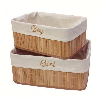 Набор из 2 коробок из бамбука для хранения вещей Мальчик и Девочка, бежевый