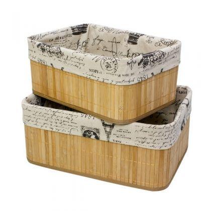 Набор из 2 коробок из бамбука для хранения вещей, эйфелева башня