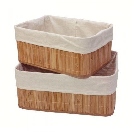 Набор из 2 коробок из бамбука для хранения вещей, белый