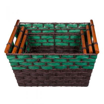 3 плетеные корзины, черно-зеленые