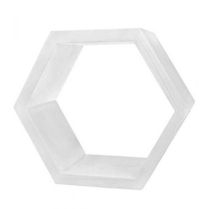 Полка настенная Шестиугольник 40 см, белая