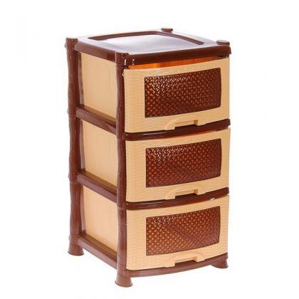 Стеллаж на 3 выдвижных ящика, бежево-коричневый, 47 x 39 x 73 см