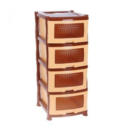 Стеллаж на 4 выдвижных ящика, бежево-коричневый