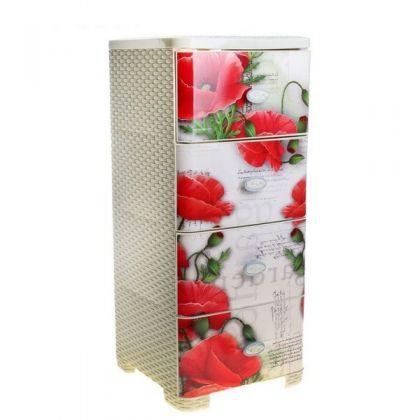 Стеллаж пластиковый на 4 выдвижных ящика Маки, плетеный