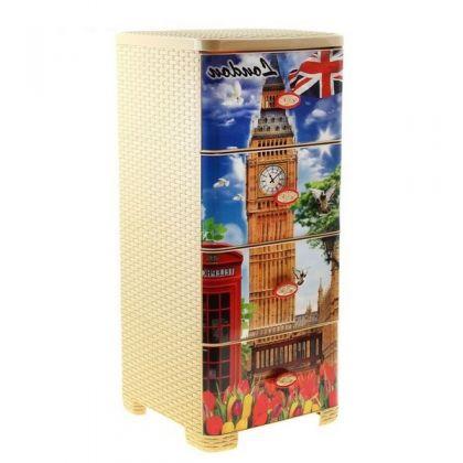 Стеллаж пластиковый на 4 выдвижных ящика Лондон, плетеный