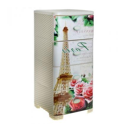 Стеллаж пластиковый на 4 выдвижных ящика Париж, плетеный