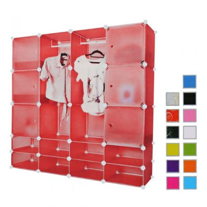 Кубический шкаф 16 отделов 145x37x145 см, разные цвета