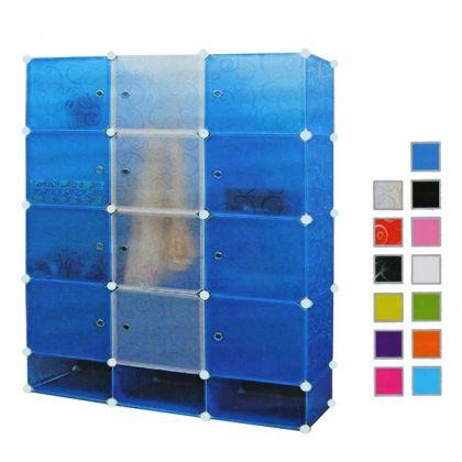 Кубический шкаф 15 отделов 110x37x160 см, разные цвета