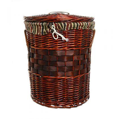 Корзина для белья 48x52 см плетенная, коричневая