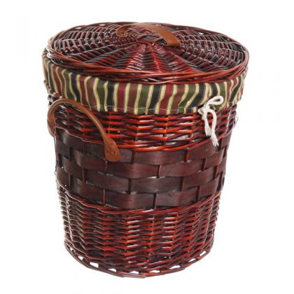 Корзина для белья 39x40 см плетенная, бордовая