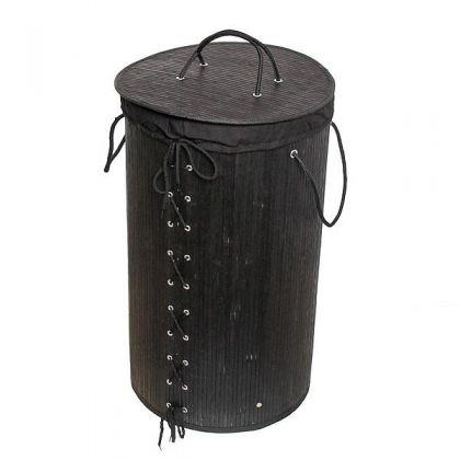 Корзина для белья 35x60 см бамбук, черная