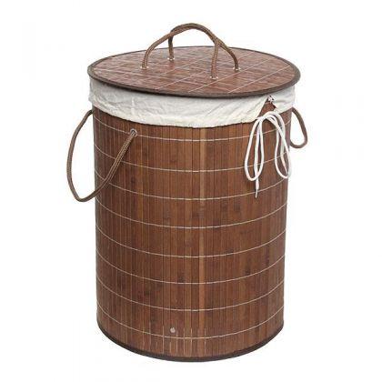 Корзина для белья 35x50 см бамбук, шоколадная