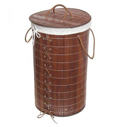 Корзина для белья 35x60 см бамбук, шоколадная