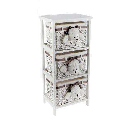 Этажерка на 3 уровня с ящиками Пудель, белая