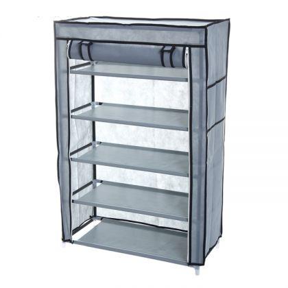 Тканевый шкаф для обуви 5 ярусов, серый