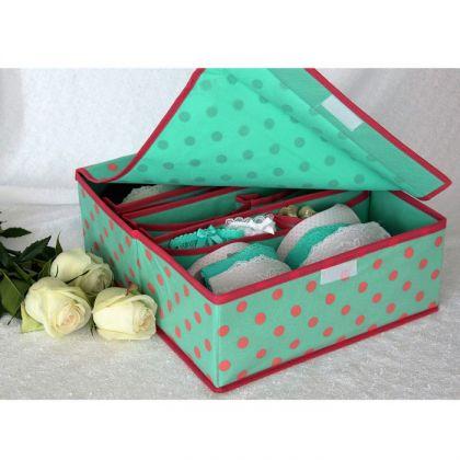 Органайзер для нижнего белья, зеленый в горошек