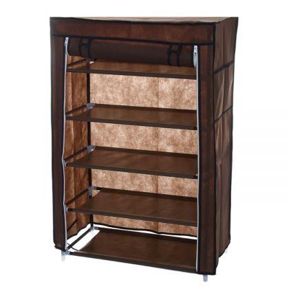 Тканевый шкаф для обуви, 5 полок, коричневый, 60 x 30 x 90 см