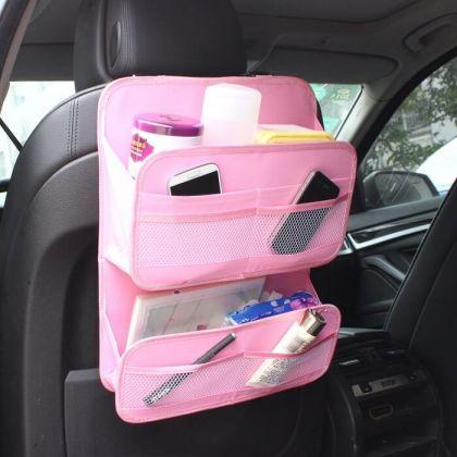 Органайзер многофункциональный на спинку в авто, розовый