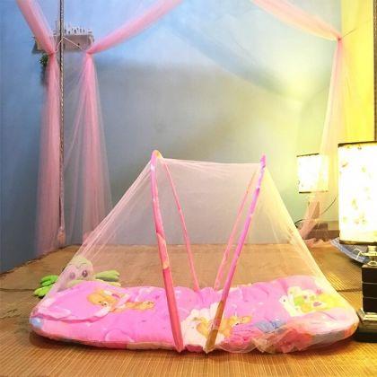 Кроватка для малышей переносная с москитной сеткой, розовая