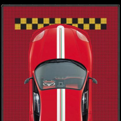 Напольное покрытие для автомобиля 3,16x5,34 м, красное с чёрно-жёлтой стоп линией