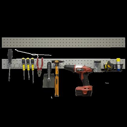 Перфопанель-планка металлическая 100x7,7 см, серая