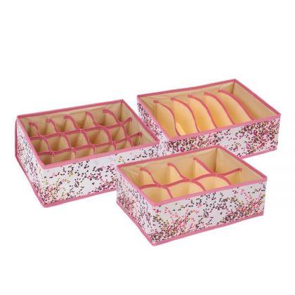 Сет из 3 органайзеров для хранения нижнего белья листочки розовые