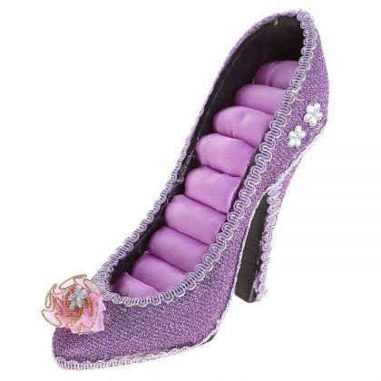 Подставка для украшений Туфелька с цветком, фиолетовая