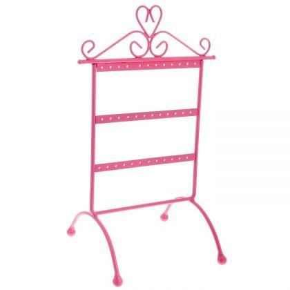 Подставка для украшений Серьги, 3 яруса, розовая