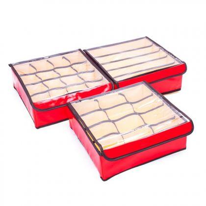 Сет из 2 влагостойких органайзеров на 21 ячейку, красный