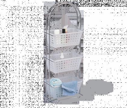 Стеллаж для хранения в ванне модель 1, хром, белый