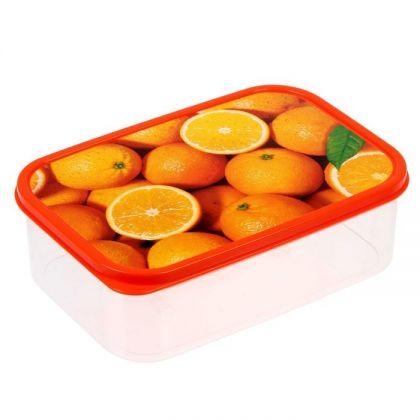 Коробка для еды прямоугольная 1,2л, Апельсины