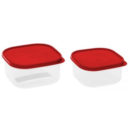 2 контейнера для продуктов квадратные 450мл и 700мл, красная крышка