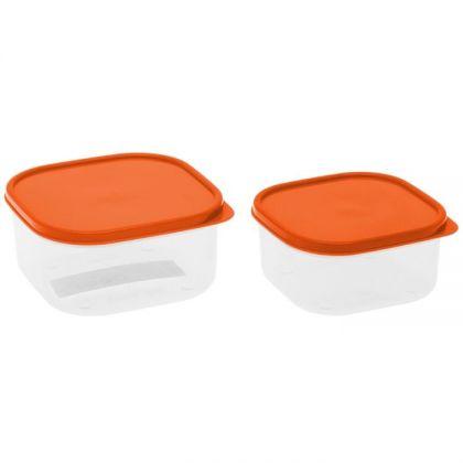 2 контейнера для продуктов квадратные 450мл и 700мл, оранжевая крышка
