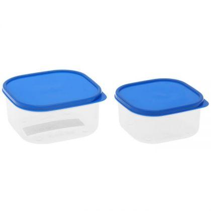 2 контейнера для продуктов квадратные 450мл и 700мл, синяя крышка