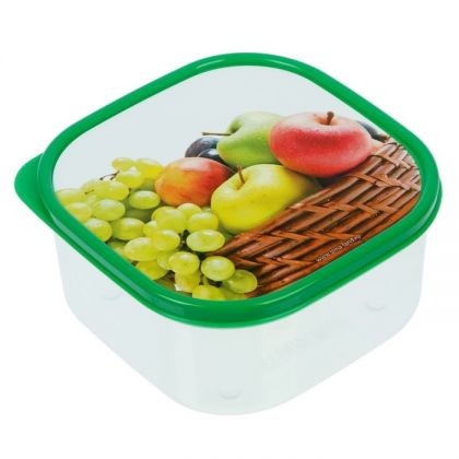 Коробка для еды квадратная 700мл, яблоки и виноград