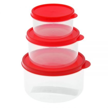 3 контейнера для продуктов круглые 150мл, 300м и 500мл, красная крышка