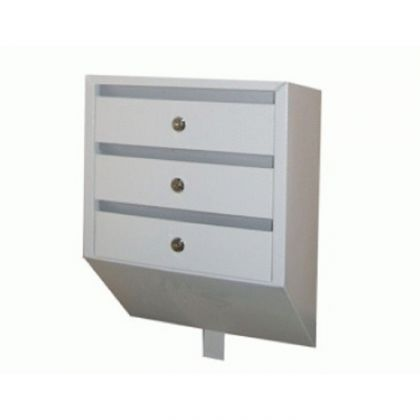 Почтовый ящик наклонный на 3 секции, белый