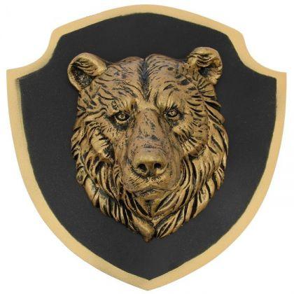"""Декор на стену """"Бронзовый медведь"""" черный фон"""