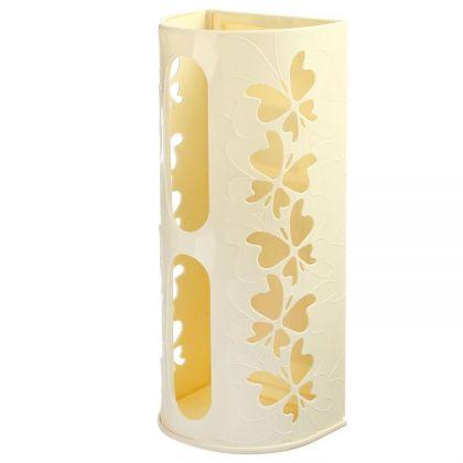 """Корзина для пакетов """"Бабочки"""", кремовый, 16,8 х 13,3 х 37,5 см"""