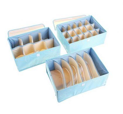 """Набор из 3 органайзеров для белья с крышкой """"Премиум"""", голубой, 32 х 24 х 12 см"""