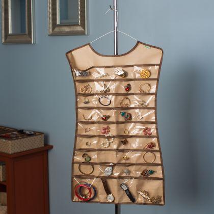 """Органайзер-платье для украшений, аксессуаров, мелочей """"Горох"""", бежевый, 45 х 75 см"""