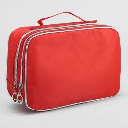 Дорожная косметичка с ручкой и зеркалом 2 отдела 29x8x16 см, красная